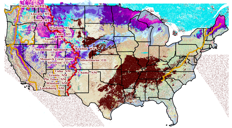 National SNODAS/MODIS Trail Map Example
