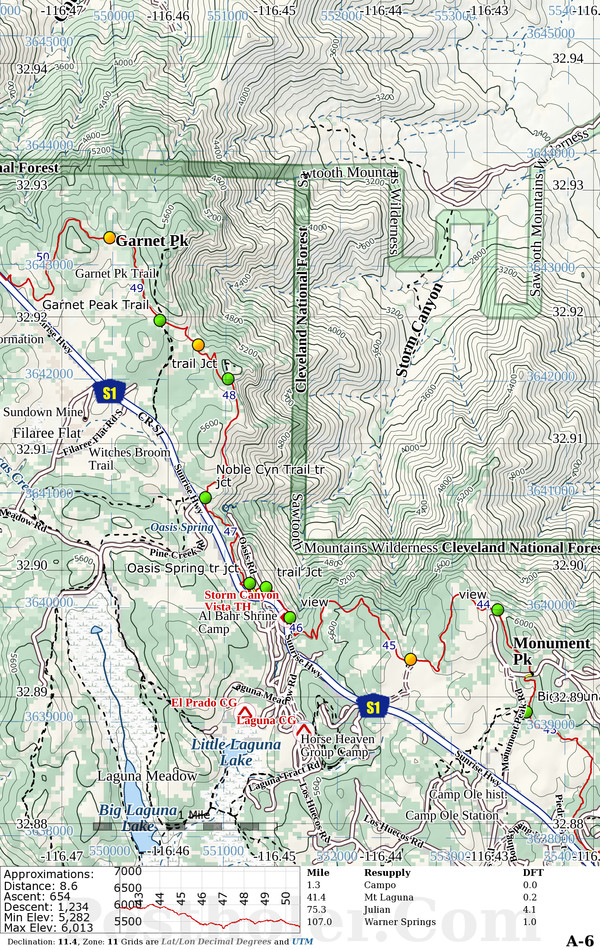 Pacific Crest Trail Sample Map